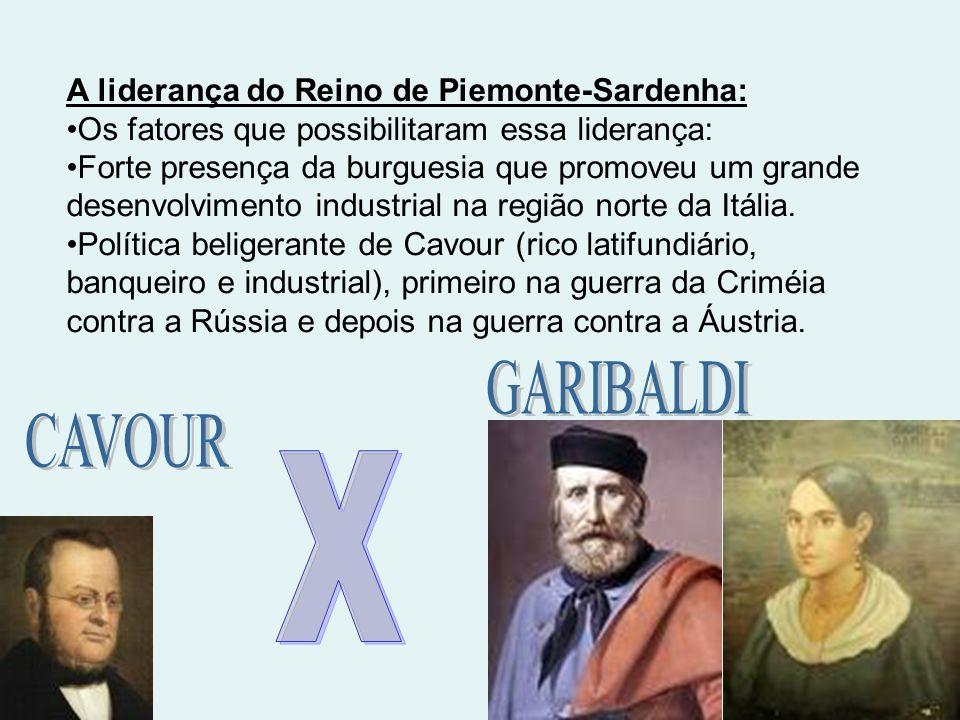 A liderança do Reino de Piemonte-Sardenha: Os fatores que possibilitaram essa liderança: Forte presença da burguesia que promoveu um grande desenvolvi