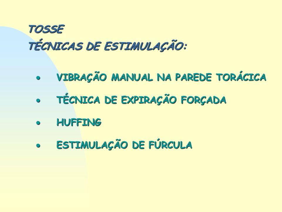 TOSSE TÉCNICAS DE ESTIMULAÇÃO: VIBRAÇÃO MANUAL NA PAREDE TORÁCICA VIBRAÇÃO MANUAL NA PAREDE TORÁCICA TÉCNICA DE EXPIRAÇÃO FORÇADA TÉCNICA DE EXPIRAÇÃO
