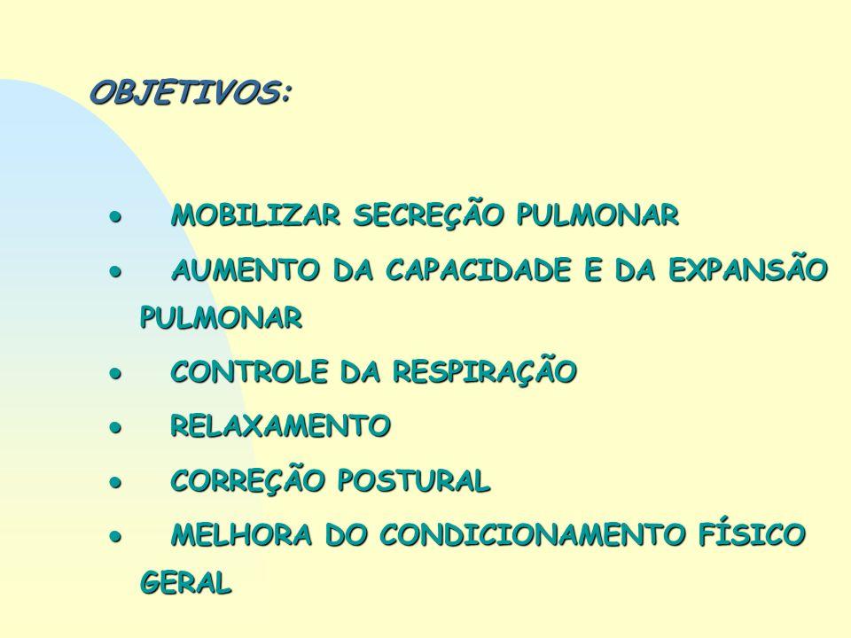 OBJETIVOS: MOBILIZAR SECREÇÃO PULMONAR MOBILIZAR SECREÇÃO PULMONAR AUMENTO DA CAPACIDADE E DA EXPANSÃO PULMONAR AUMENTO DA CAPACIDADE E DA EXPANSÃO PU