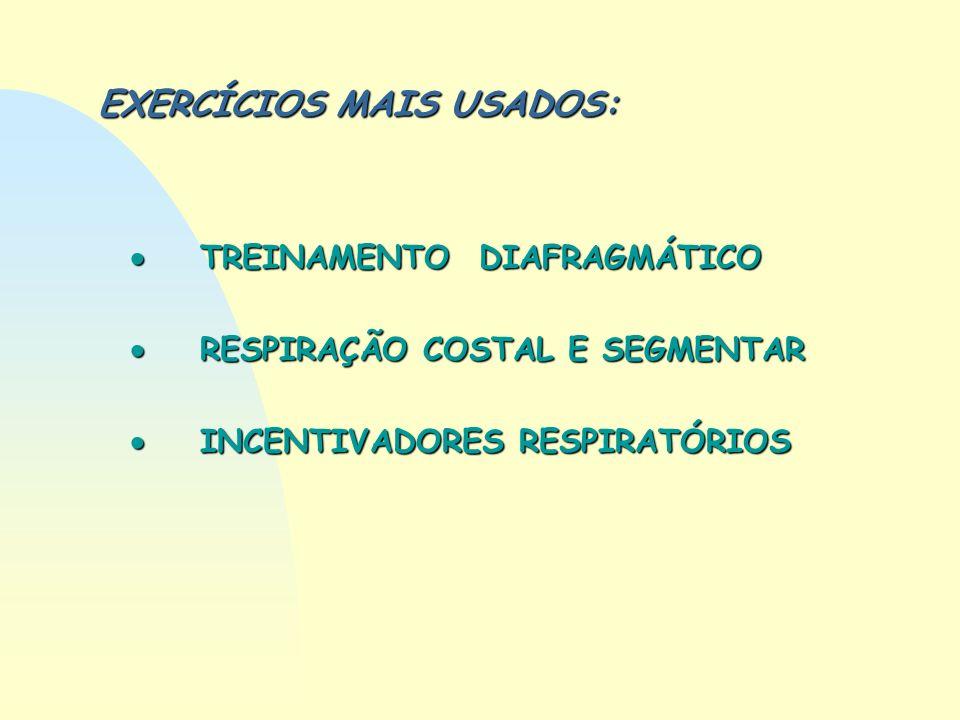 EXERCÍCIOS MAIS USADOS: TREINAMENTO DIAFRAGMÁTICO TREINAMENTO DIAFRAGMÁTICO RESPIRAÇÃO COSTAL E SEGMENTAR RESPIRAÇÃO COSTAL E SEGMENTAR INCENTIVADORES