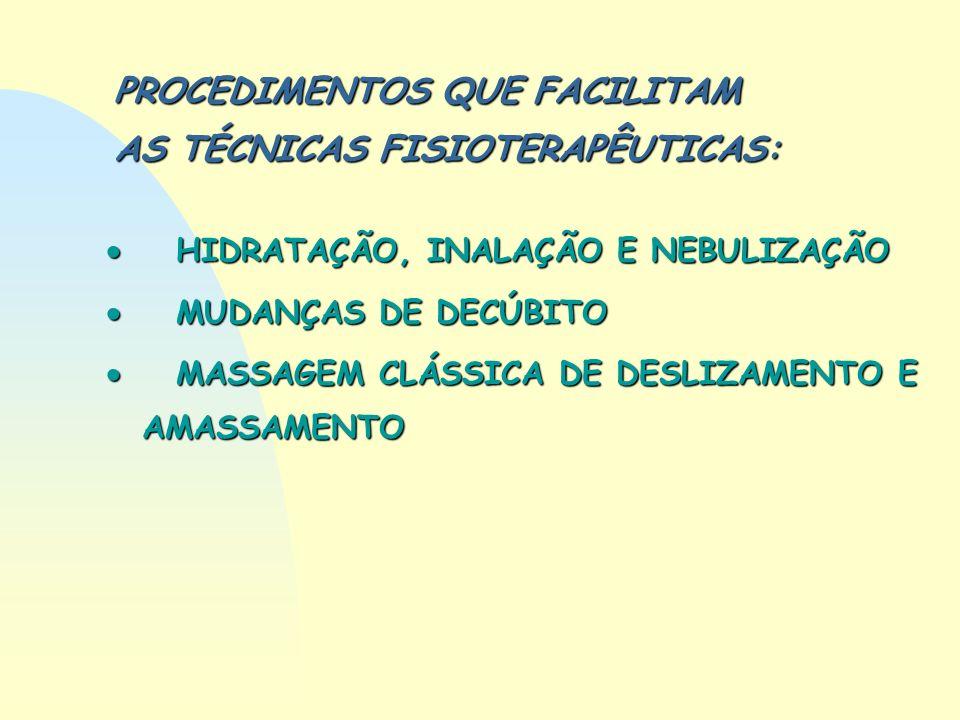 PROCEDIMENTOS QUE FACILITAM AS TÉCNICAS FISIOTERAPÊUTICAS: HIDRATAÇÃO, INALAÇÃO E NEBULIZAÇÃO HIDRATAÇÃO, INALAÇÃO E NEBULIZAÇÃO MUDANÇAS DE DECÚBITO
