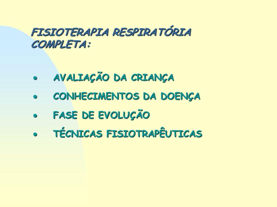 FISIOTERAPIA RESPIRATÓRIA COMPLETA: AVALIAÇÃO DA CRIANÇA AVALIAÇÃO DA CRIANÇA CONHECIMENTOS DA DOENÇA CONHECIMENTOS DA DOENÇA FASE DE EVOLUÇÃO FASE DE