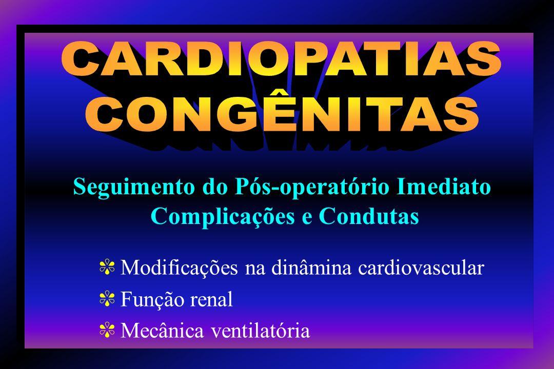 c Shunt atrial D E em situações de disfunção ventricular pós-operatória, apesar de cianose transitória; c Quando não há CIA disfunção de VD baixo débito cardíaco disfunção ventricular esquerda; c T4F, truncus arteriosus e pacientes mais velhos com ventrículo único fenestração ou CIA é deixada para manter o débito cardíaco diminui as complicações pós-operatórias.