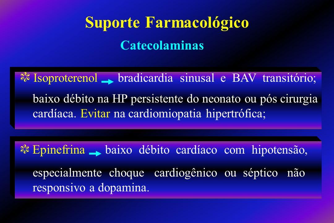 c Isoproterenol bradicardia sinusal e BAV transitório; baixo débito na HP persistente do neonato ou pós cirurgia cardíaca. Evitar na cardiomiopatia hi