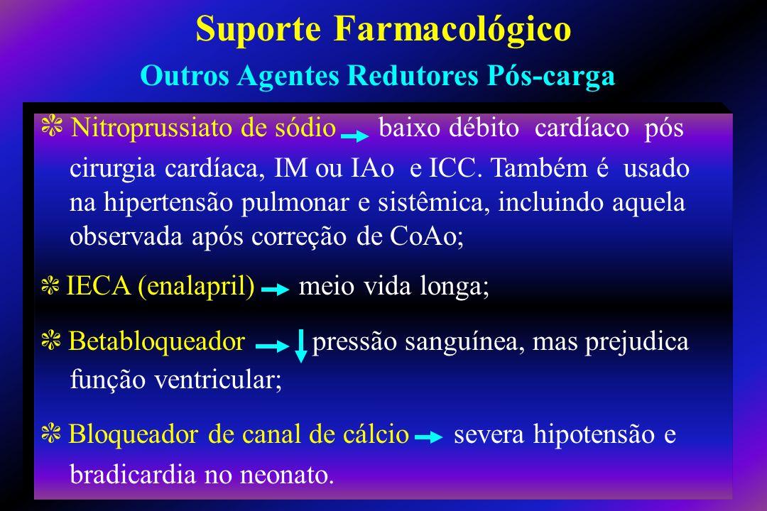 c Nitroprussiato de sódio baixo débito cardíaco pós cirurgia cardíaca, IM ou IAo e ICC. Também é usado na hipertensão pulmonar e sistêmica, incluindo