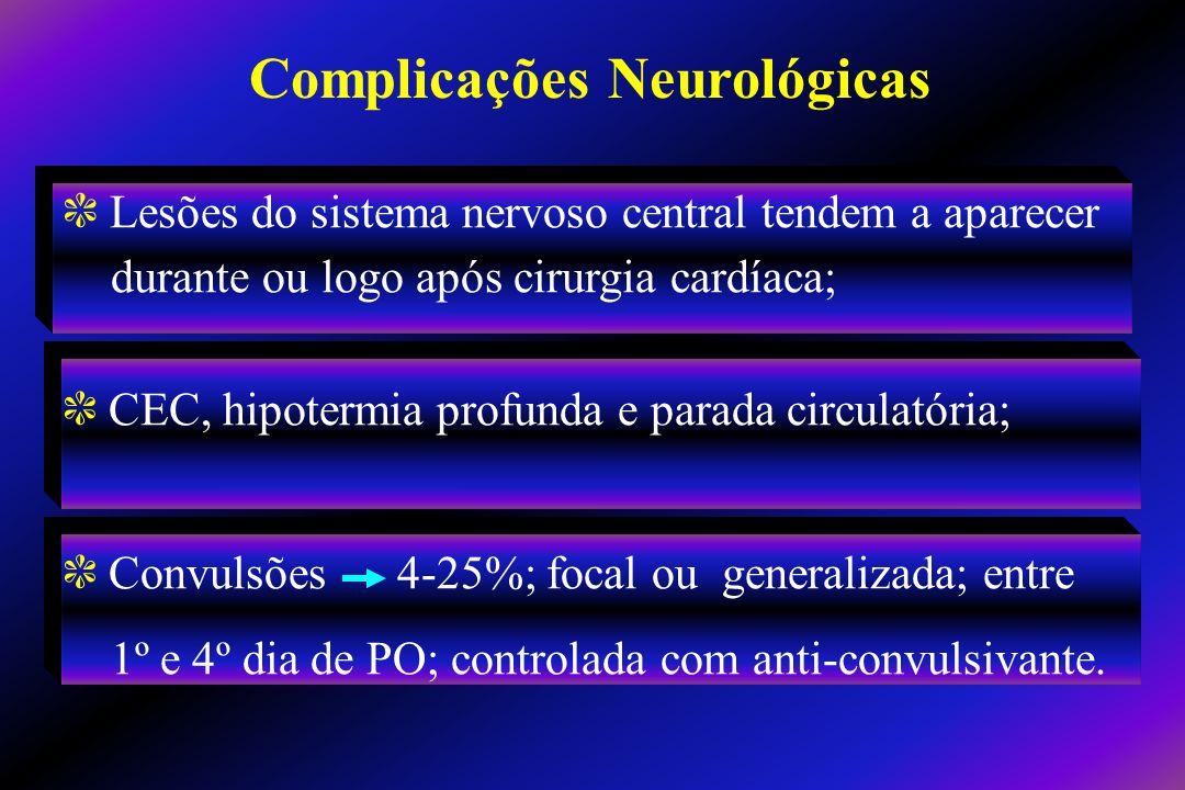 c Lesões do sistema nervoso central tendem a aparecer durante ou logo após cirurgia cardíaca; c CEC, hipotermia profunda e parada circulatória; c Conv