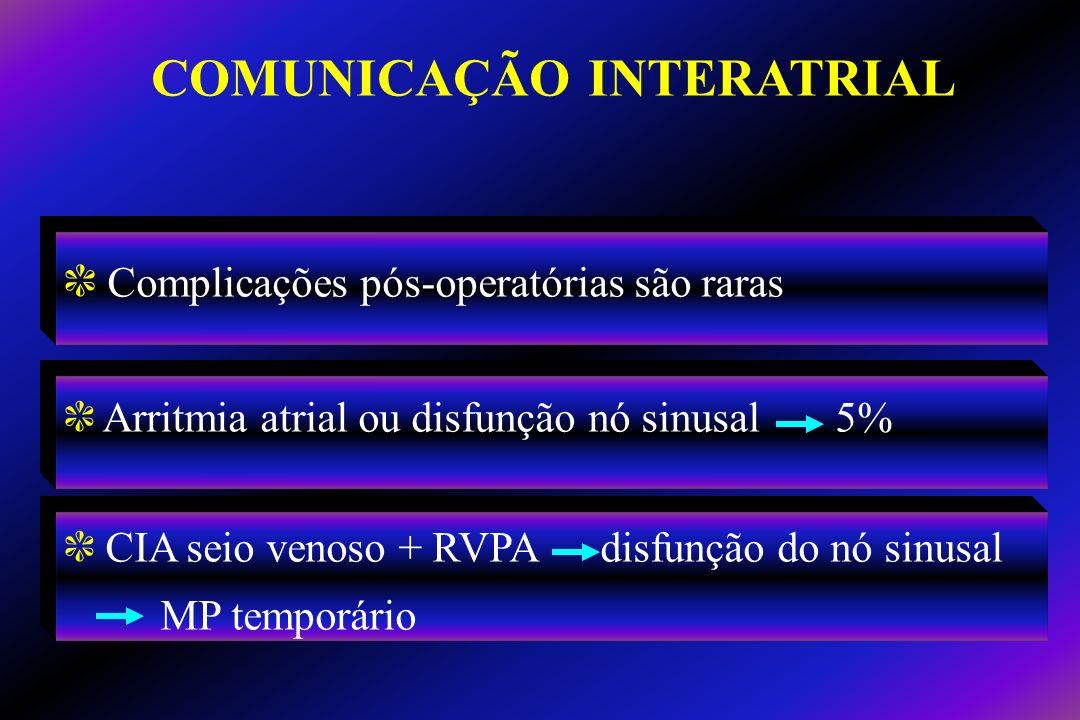 c Complicações pós-operatórias são raras c Arritmia atrial ou disfunção nó sinusal 5% c CIA seio venoso + RVPA disfunção do nó sinusal MP temporário C
