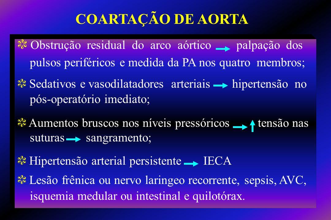 c Obstrução residual do arco aórtico palpação dos pulsos periféricos e medida da PA nos quatro membros; c Sedativos e vasodilatadores arteriais hipert