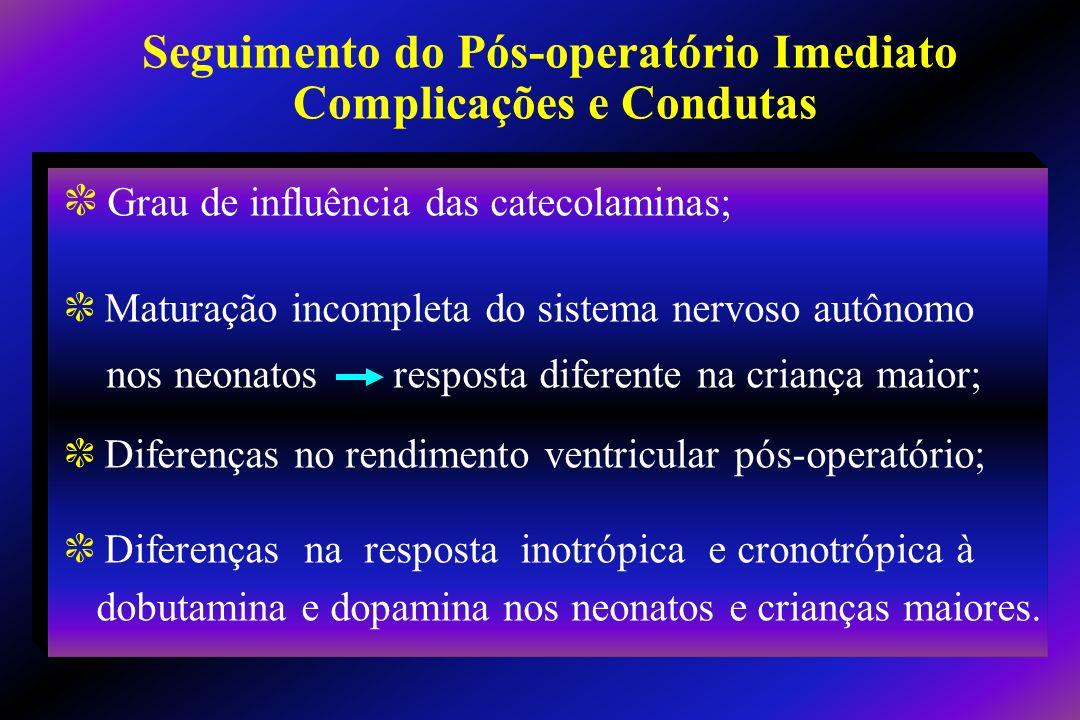 c Grau de influência das catecolaminas; c Maturação incompleta do sistema nervoso autônomo nos neonatos resposta diferente na criança maior; c Diferen
