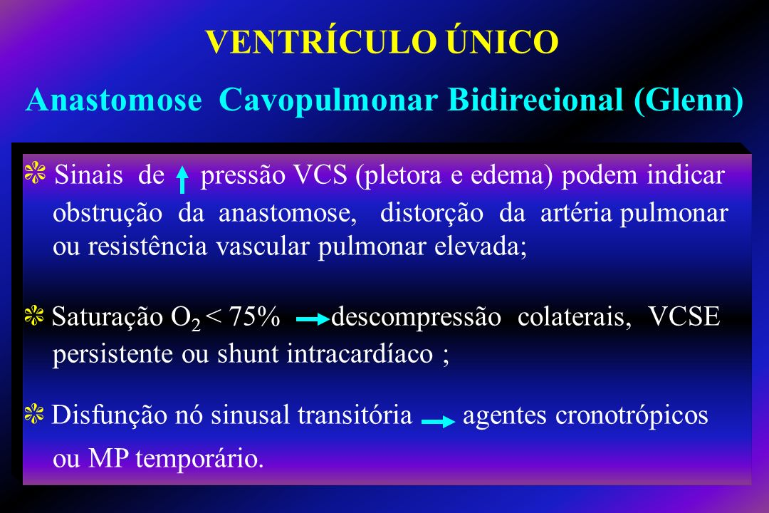 c Sinais de pressão VCS (pletora e edema) podem indicar obstrução da anastomose, distorção da artéria pulmonar ou resistência vascular pulmonar elevad