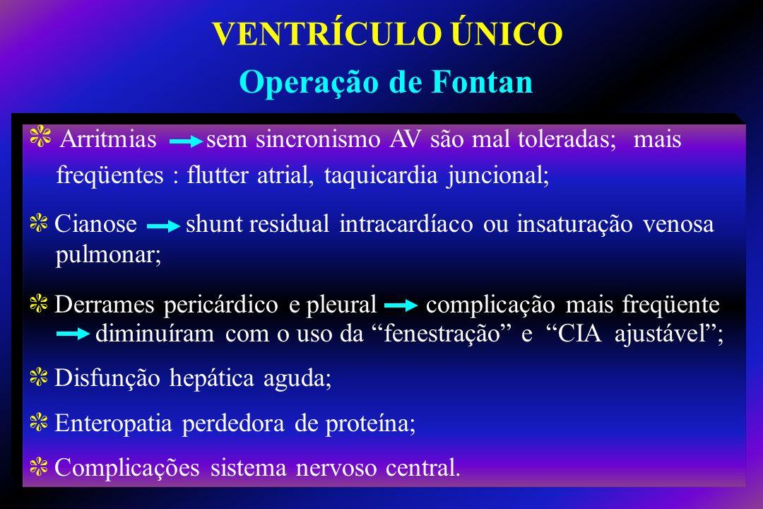 c Arritmias sem sincronismo AV são mal toleradas; mais freqüentes : flutter atrial, taquicardia juncional; c Cianose shunt residual intracardíaco ou i