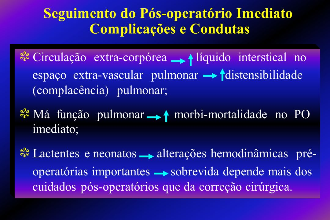 c Entendimento da anatomia do defeito c Fisiopatologia pré-operatória c Regime anestésico usado durante a cirurgia c Parâmetros da CEC c Detalhes do procedimento cirúrgico Aspectos Importantes para Pós-operatório Ideal