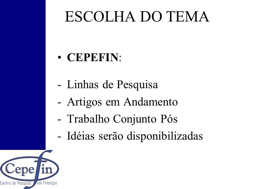ESCOLHA DO TEMA CEPEFIN: -Linhas de Pesquisa -Artigos em Andamento -Trabalho Conjunto Pós -Idéias serão disponibilizadas