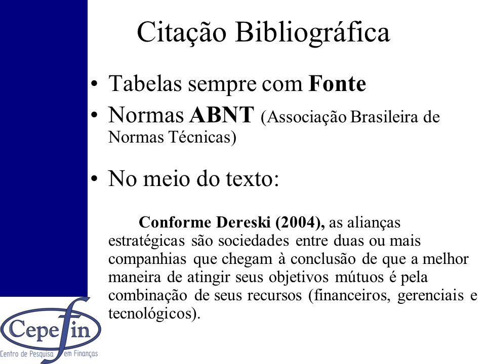 Citação Bibliográfica Tabelas sempre com Fonte Normas ABNT (Associação Brasileira de Normas Técnicas) No meio do texto: Conforme Dereski (2004), as al
