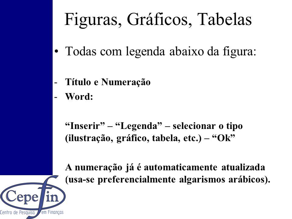 Figuras, Gráficos, Tabelas Todas com legenda abaixo da figura: -Título e Numeração -Word: Inserir – Legenda – selecionar o tipo (ilustração, gráfico,