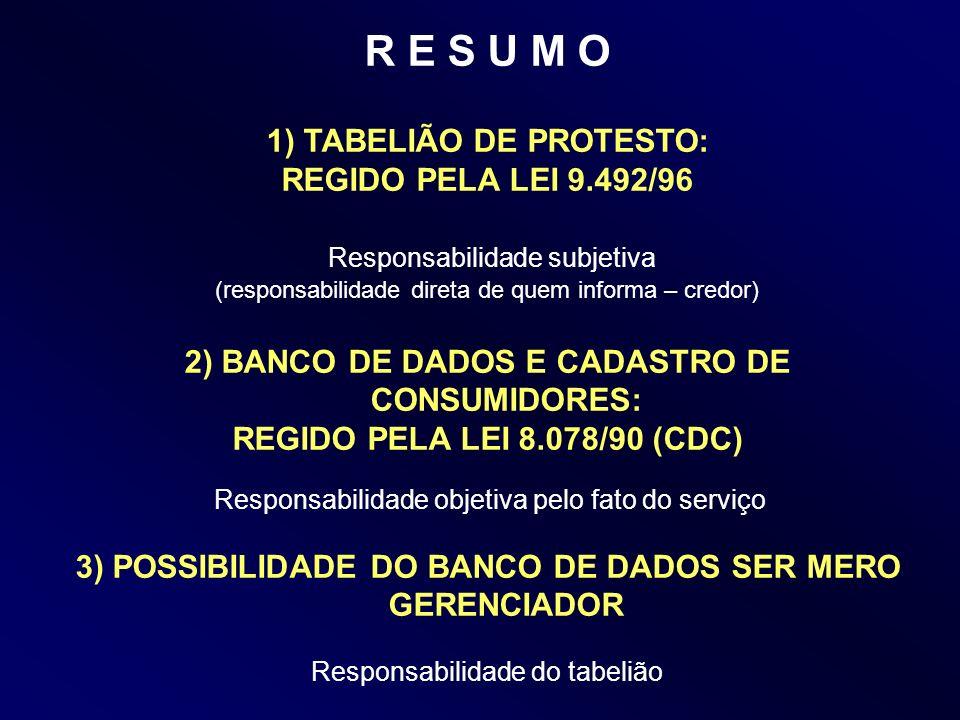 R E S U M O 1) TABELIÃO DE PROTESTO: REGIDO PELA LEI 9.492/96 Responsabilidade subjetiva (responsabilidade direta de quem informa – credor) 2) BANCO D