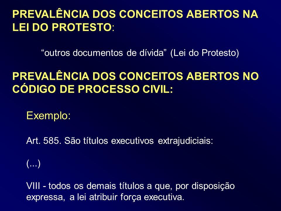 PREVALÊNCIA DOS CONCEITOS ABERTOS NA LEI DO PROTESTO: outros documentos de dívida (Lei do Protesto) PREVALÊNCIA DOS CONCEITOS ABERTOS NO CÓDIGO DE PRO