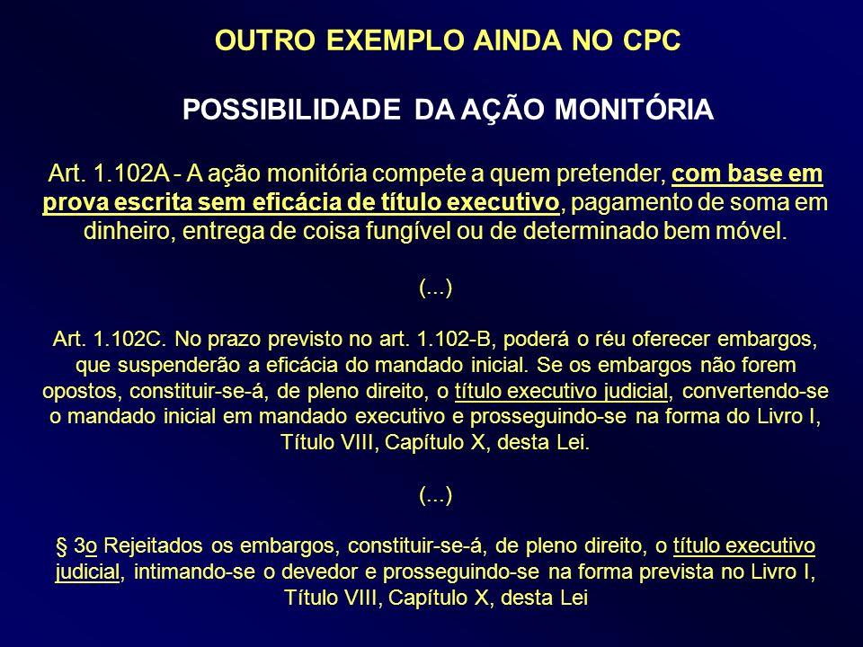 OUTRO EXEMPLO AINDA NO CPC POSSIBILIDADE DA AÇÃO MONITÓRIA Art. 1.102A - A ação monitória compete a quem pretender, com base em prova escrita sem efic