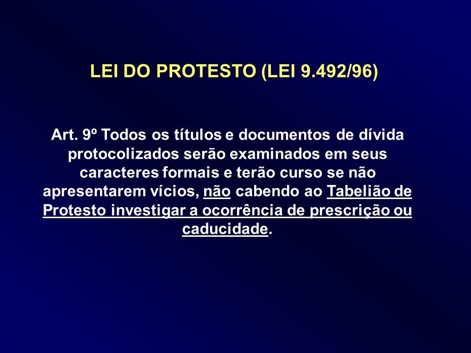 Art. 9º Todos os títulos e documentos de dívida protocolizados serão examinados em seus caracteres formais e terão curso se não apresentarem vícios, n