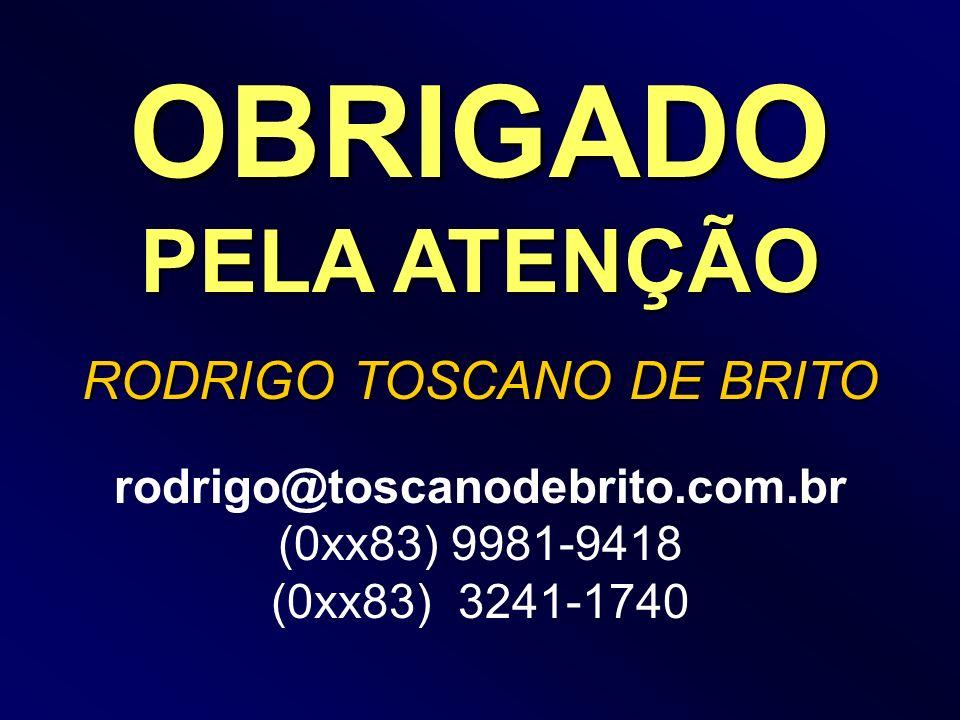 OBRIGADO PELA ATENÇÃO RODRIGO TOSCANO DE BRITO rodrigo@toscanodebrito.com.br (0xx83) 9981-9418 (0xx83) 3241-1740