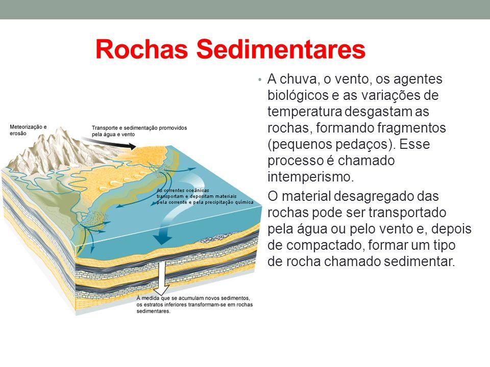 Rochas Sedimentares A chuva, o vento, os agentes biológicos e as variações de temperatura desgastam as rochas, formando fragmentos (pequenos pedaços).