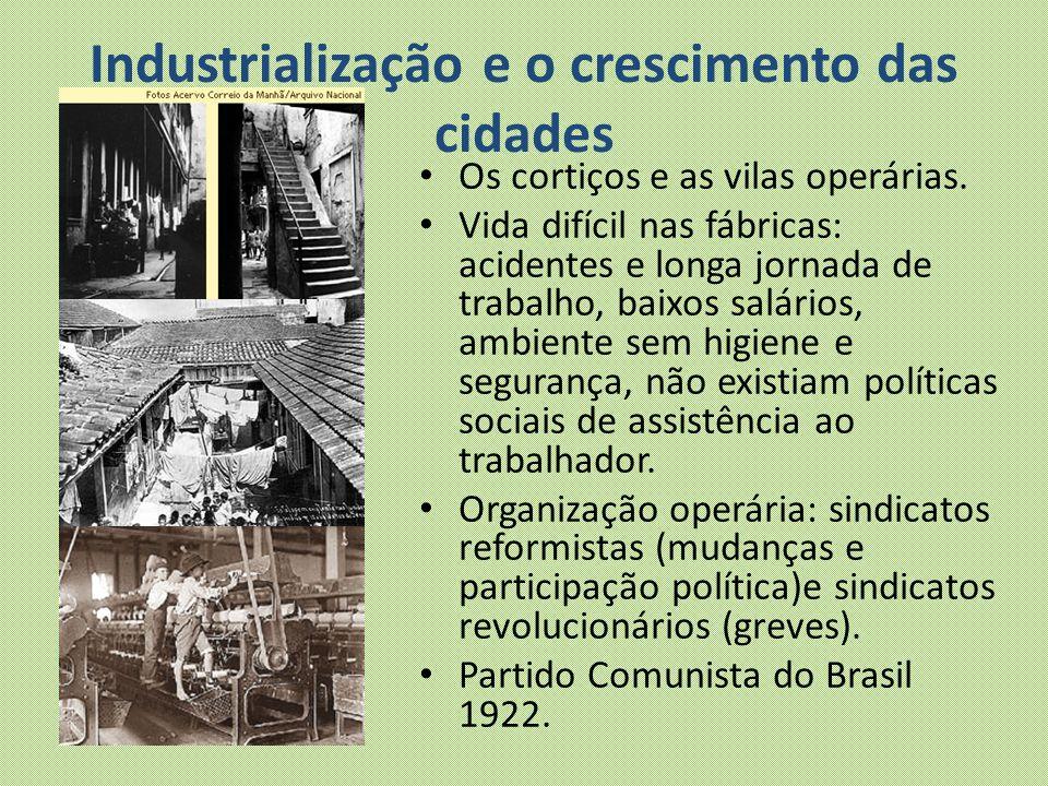 Industrialização e o crescimento das cidades Os cortiços e as vilas operárias. Vida difícil nas fábricas: acidentes e longa jornada de trabalho, baixo