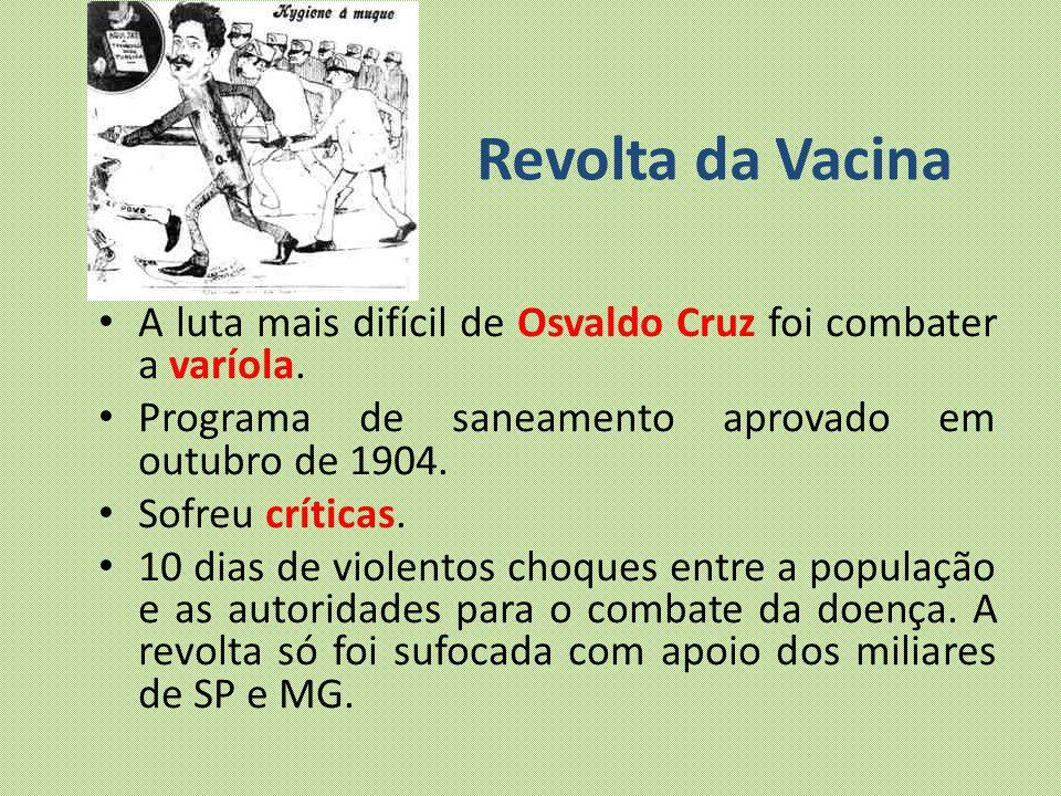 Revolta da Vacina A luta mais difícil de Osvaldo Cruz foi combater a varíola. Programa de saneamento aprovado em outubro de 1904. Sofreu críticas. 10