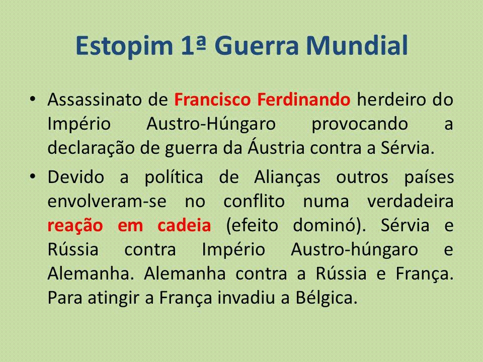 Estopim 1ª Guerra Mundial Assassinato de Francisco Ferdinando herdeiro do Império Austro-Húngaro provocando a declaração de guerra da Áustria contra a