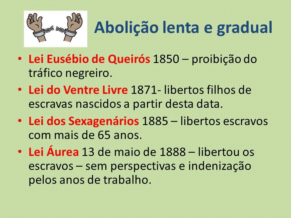 Abolição lenta e gradual Lei Eusébio de Queirós 1850 – proibição do tráfico negreiro. Lei do Ventre Livre 1871- libertos filhos de escravas nascidos a