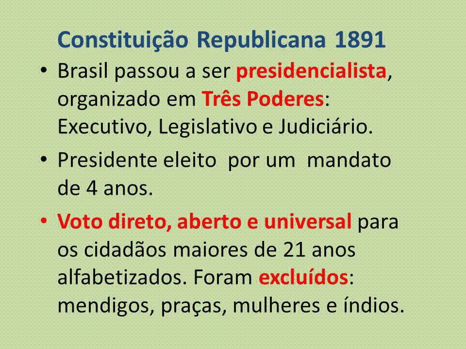 Constituição Republicana 1891 Brasil passou a ser presidencialista, organizado em Três Poderes: Executivo, Legislativo e Judiciário. Presidente eleito