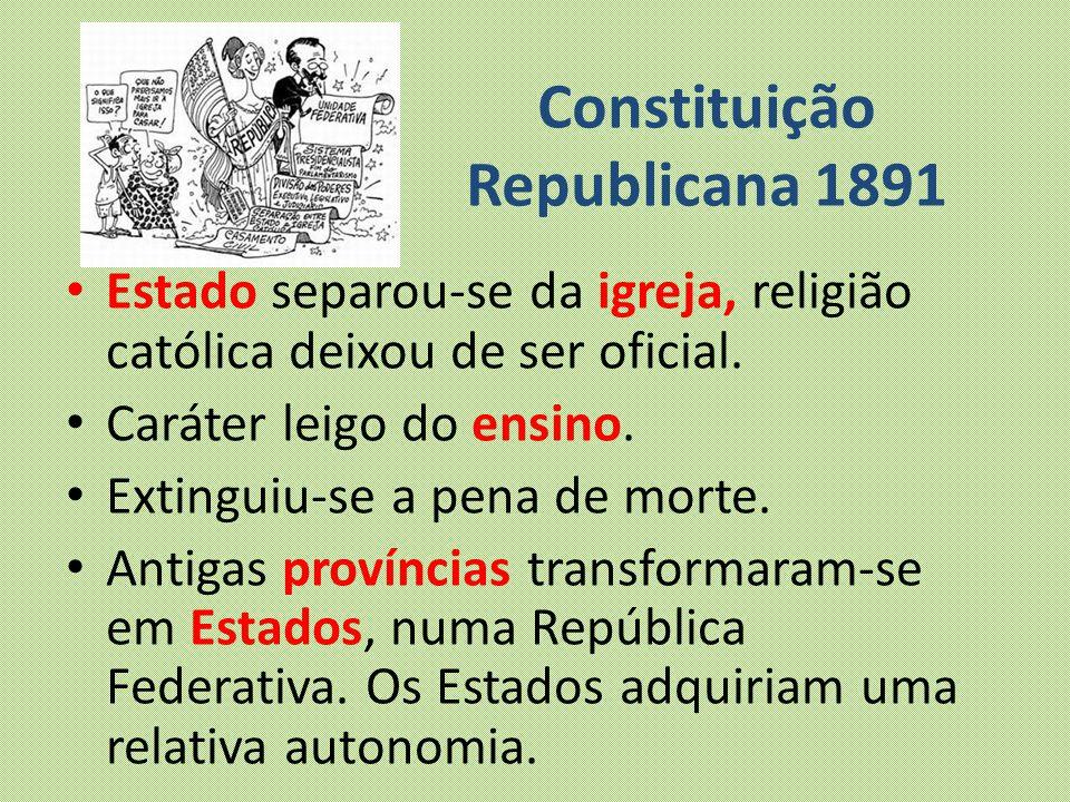 Constituição Republicana 1891 Estado separou-se da igreja, religião católica deixou de ser oficial. Caráter leigo do ensino. Extinguiu-se a pena de mo