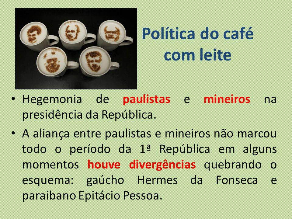 Política do café com leite Hegemonia de paulistas e mineiros na presidência da República. A aliança entre paulistas e mineiros não marcou todo o perío