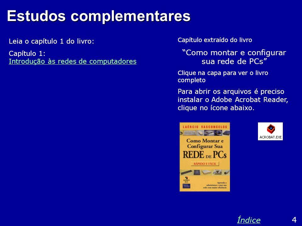 Estudos complementares Leia o capítulo 1 do livro: Capítulo 1: Introdução às redes de computadores Introdução às redes de computadores 4 Índice Capítu