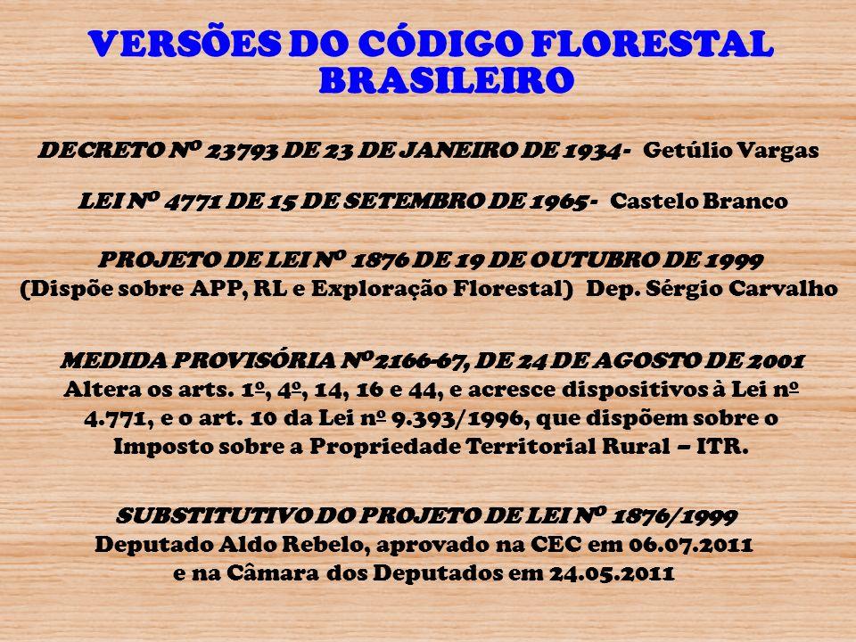 VERSÕES DO CÓDIGO FLORESTAL BRASILEIRO DECRETO N O 23793 DE 23 DE JANEIRO DE 1934 - Getúlio Vargas LEI N O 4771 DE 15 DE SETEMBRO DE 1965 - Castelo Br