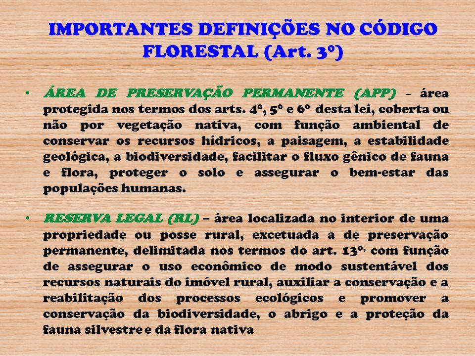 IMPORTANTES DEFINIÇÕES NO CÓDIGO FLORESTAL (Art. 3 0 ) ÁREA DE PRESERVAÇÃO PERMANENTE (APP) – área protegida nos termos dos arts. 4 0, 5 0 e 6 0 desta