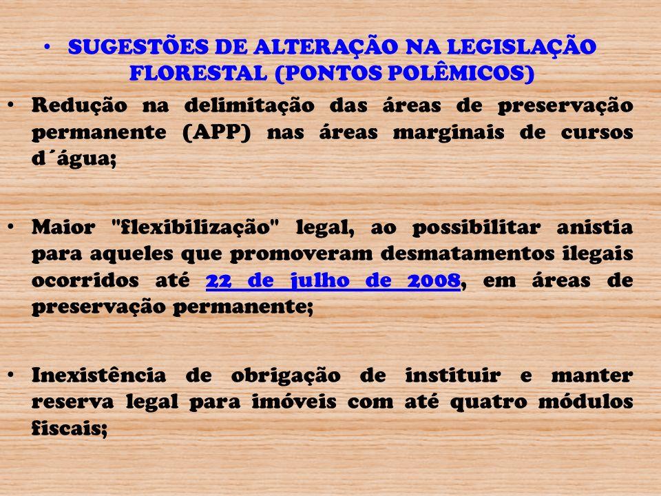 SUGESTÕES DE ALTERAÇÃO NA LEGISLAÇÃO FLORESTAL (PONTOS POLÊMICOS) Redução na delimitação das áreas de preservação permanente (APP) nas áreas marginais