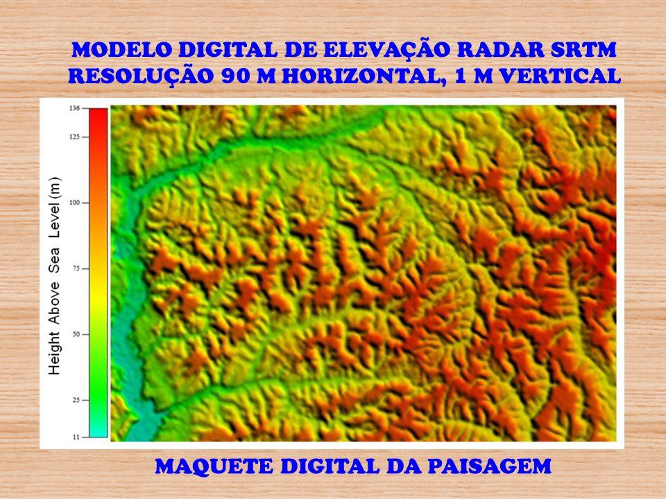 MAQUETE DIGITAL DA PAISAGEM MODELO DIGITAL DE ELEVAÇÃO RADAR SRTM RESOLUÇÃO 90 M HORIZONTAL, 1 M VERTICAL