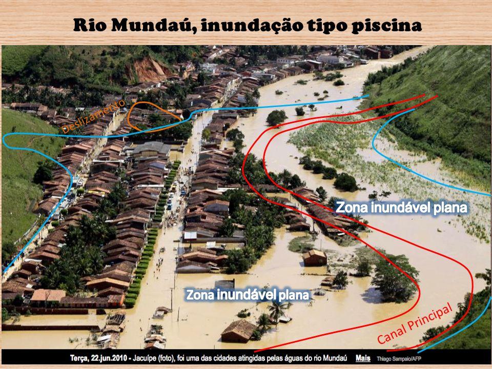 Canal Principal Deslizamento Rio Mundaú, inundação tipo piscina