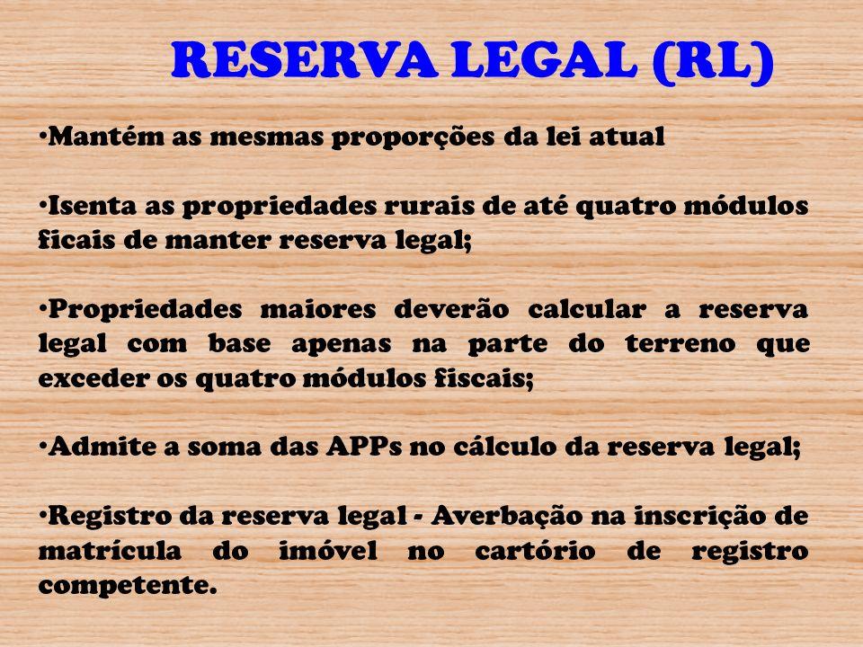 RESERVA LEGAL (RL) Mantém as mesmas proporções da lei atual Isenta as propriedades rurais de até quatro módulos ficais de manter reserva legal; Propri