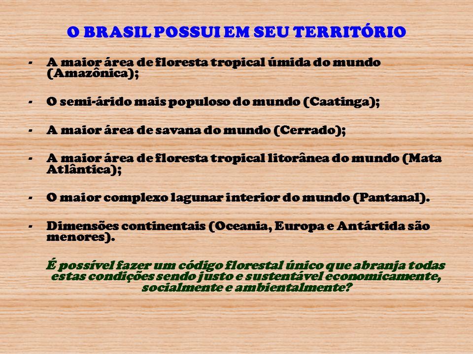 O BRASIL POSSUI EM SEU TERRITÓRIO -A maior área de floresta tropical úmida do mundo (Amazônica); -O semi-árido mais populoso do mundo (Caatinga); -A m
