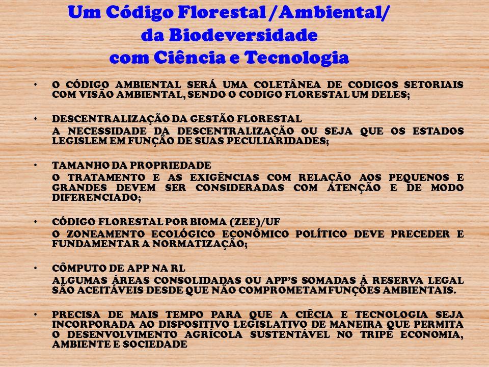 Um Código Florestal /Ambiental/ da Biodeversidade com Ciência e Tecnologia O CÓDIGO AMBIENTAL SERÁ UMA COLETÂNEA DE CODIGOS SETORIAIS COM VISÃO AMBIEN