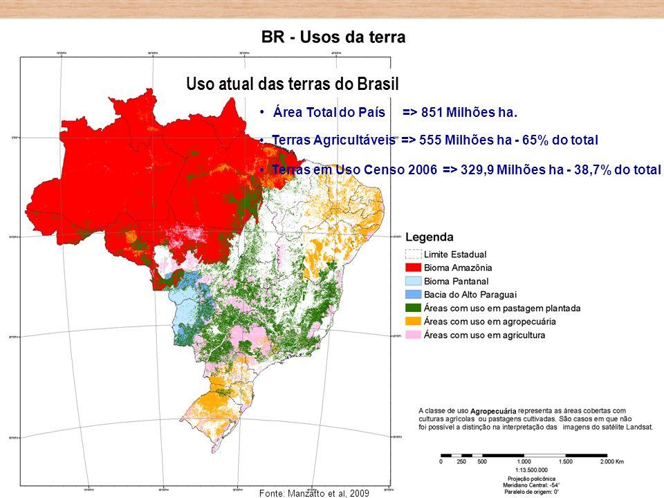Área Total do País => 851 Milhões ha. Terras Agricultáveis => 555 Milhões ha - 65% do total Terras em Uso Censo 2006 => 329,9 Milhões ha - 38,7% do to