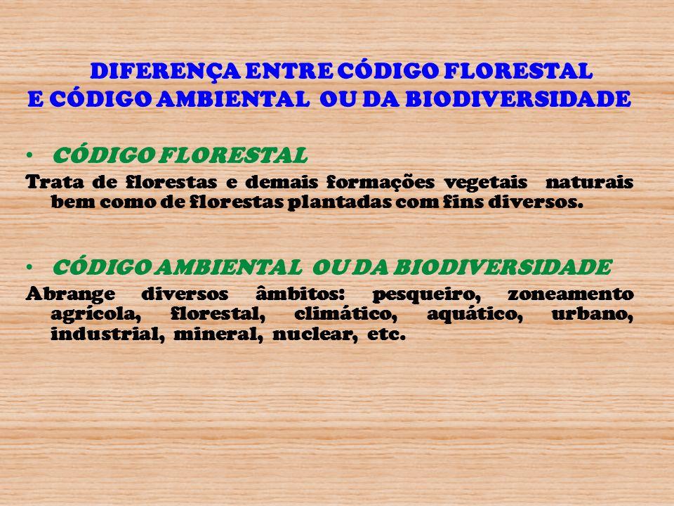DIFERENÇA ENTRE CÓDIGO FLORESTAL E CÓDIGO AMBIENTAL OU DA BIODIVERSIDADE CÓDIGO FLORESTAL Trata de florestas e demais formações vegetais naturais bem