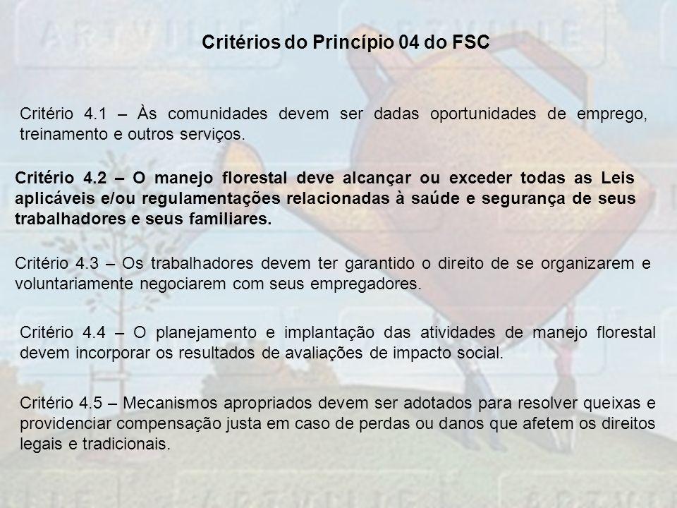Critério 4.1 – Às comunidades devem ser dadas oportunidades de emprego, treinamento e outros serviços. Critério 4.2 – O manejo florestal deve alcançar