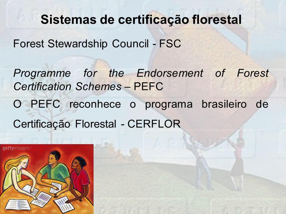 Sistemas de certificação florestal Forest Stewardship Council - FSC Programme for the Endorsement of Forest Certification Schemes – PEFC O PEFC reconh