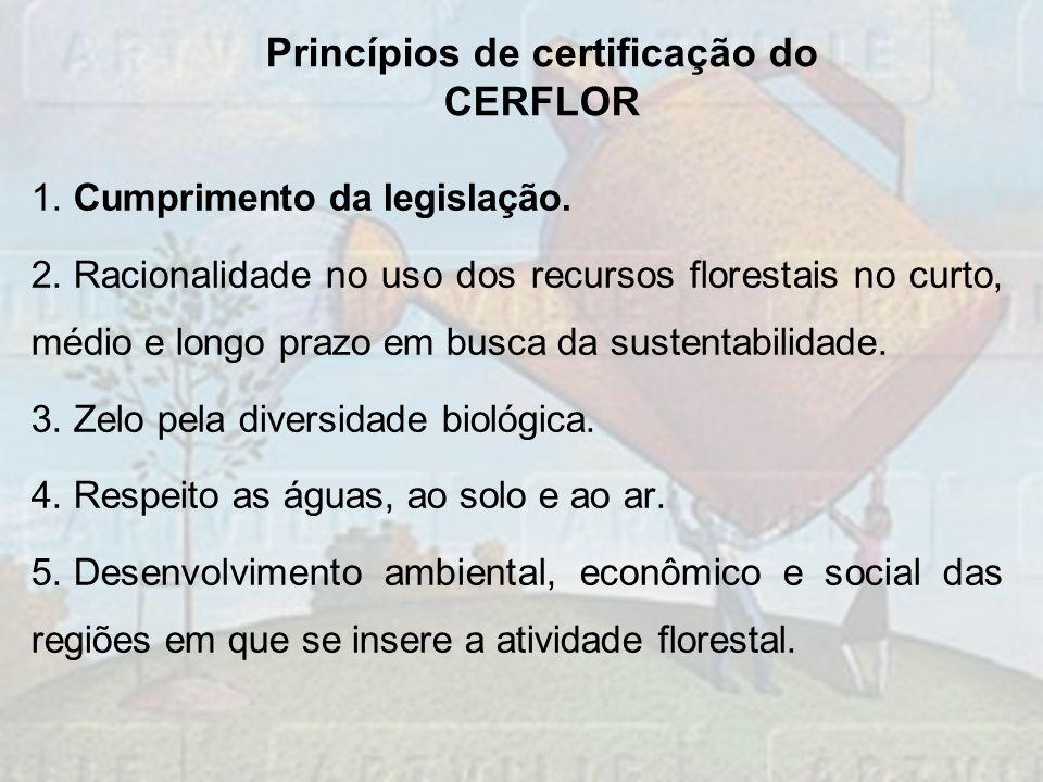 1. Cumprimento da legislação. 2. Racionalidade no uso dos recursos florestais no curto, médio e longo prazo em busca da sustentabilidade. 3. Zelo pela