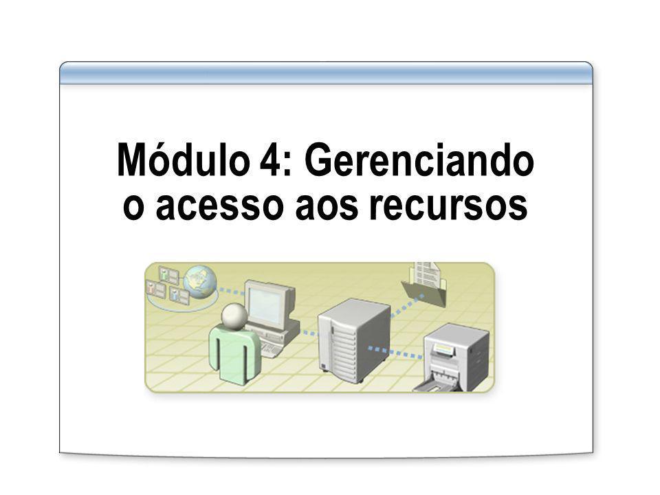 Visão geral Visão geral do gerenciamento de acesso aos recursos Gerenciando o acesso a pastas compartilhadas Gerenciando o acesso a arquivos e pastas usando permissões NTFS Determinando permissões efetivas Gerenciando o acesso a arquivos compartilhados usando o cache offline