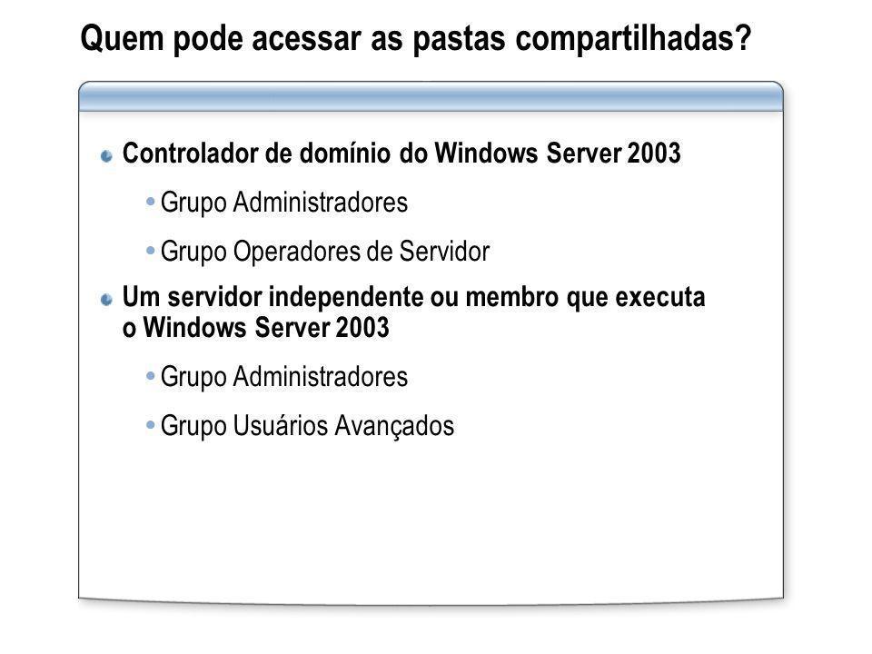 Quem pode acessar as pastas compartilhadas? Controlador de domínio do Windows Server 2003 Grupo Administradores Grupo Operadores de Servidor Um servid