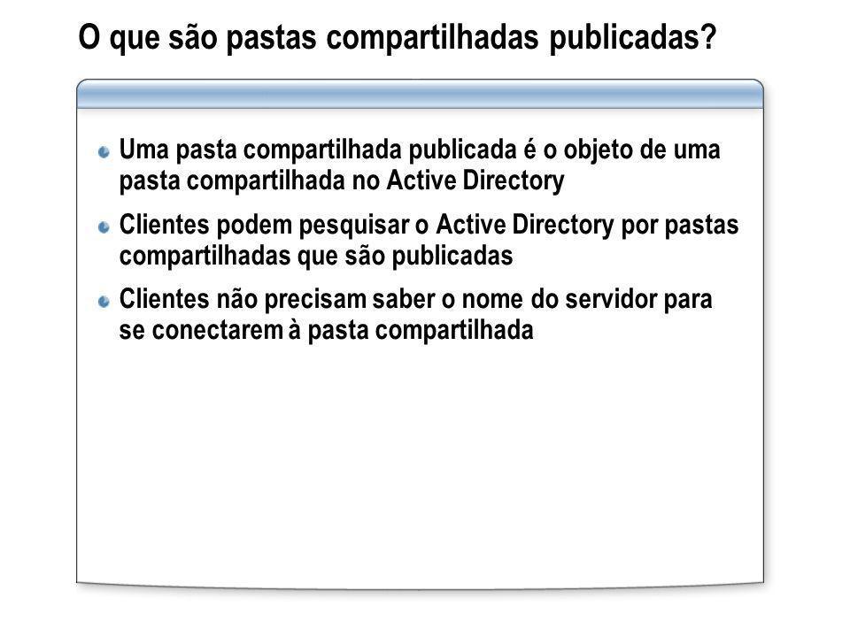 O que são pastas compartilhadas publicadas? Uma pasta compartilhada publicada é o objeto de uma pasta compartilhada no Active Directory Clientes podem