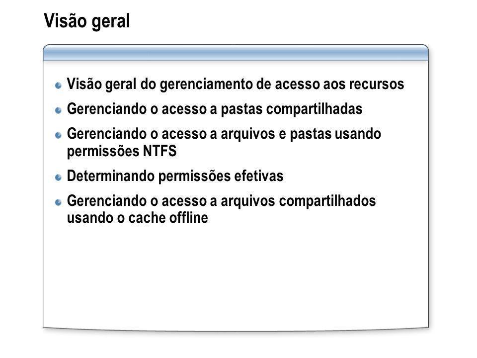 Visão geral Visão geral do gerenciamento de acesso aos recursos Gerenciando o acesso a pastas compartilhadas Gerenciando o acesso a arquivos e pastas